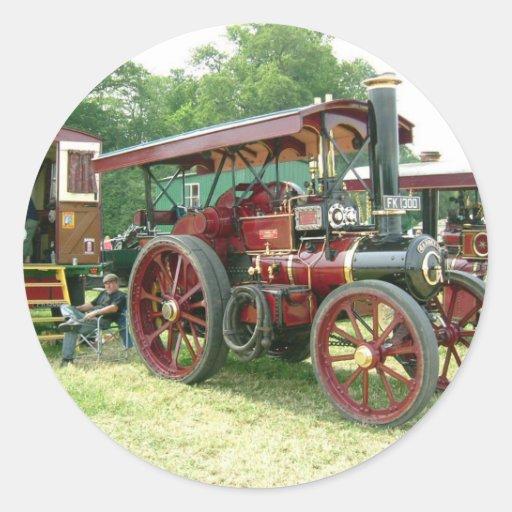 vehículo y remolque del vintage etiqueta redonda