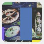 Vehículos de espacio retros de Sci Fi del kitsch d Calcomanía Cuadradas Personalizadas