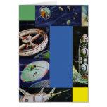 Vehículos de espacio retros de Sci Fi del kitsch d Felicitacion