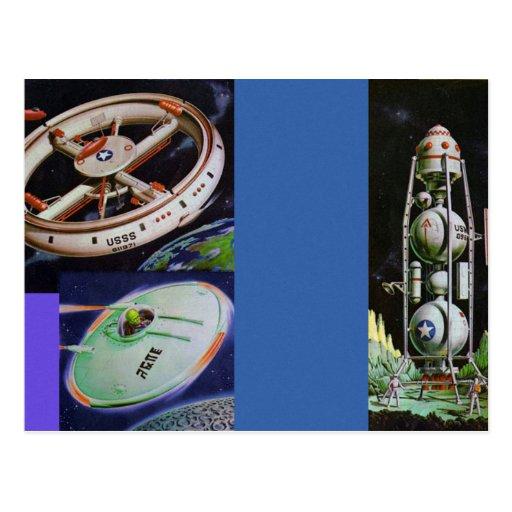 Vehículos de espacio retros de Sci Fi del kitsch d Tarjetas Postales