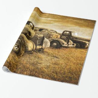 Vehículos del vintage papel de regalo