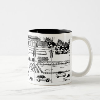 Vehículos en pagoda tazas de café