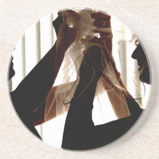 Veil Adjust Bride Outline Photograph Design Beverage Coasters
