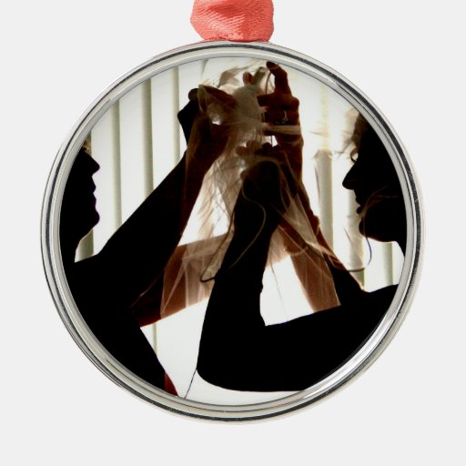 Veil Adjust Bride Outline Photograph Design Christmas Tree Ornaments
