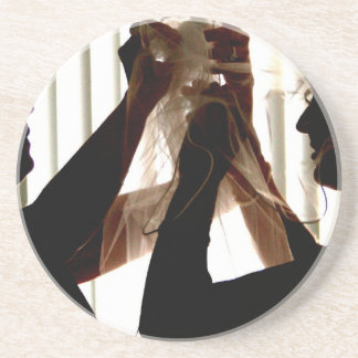 Veil Adjust Bride Outline Photograph Design Sandstone Coaster