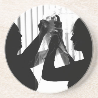 Veil Adjust Bride Photograph B/W Wedding Picture Coaster