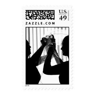 Veil Adjust Bride Photograph B/W Wedding Picture Postage Stamp