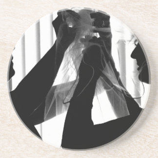 Veil Adjust Bride Photograph B/W Wedding Picture Sandstone Coaster