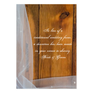 Veil and Barn Wood Country Wedding Charity Favor Large Business Card