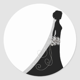 Veiled Bride Silhouette Clipart Wedding Stickers