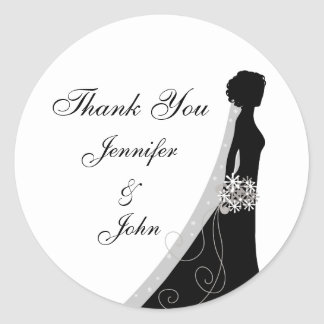 Veiled Bride Silhouette Wedding Thank You Stickers
