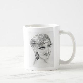 Veiled Deco Girl Classic White Coffee Mug
