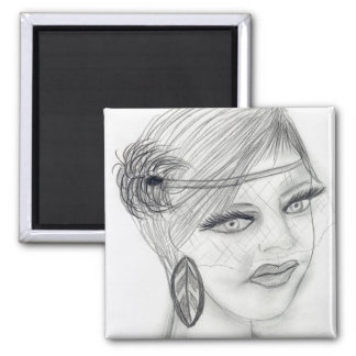 Veiled Deco Girl Magnet