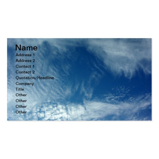 Veils in the Sky Business Card