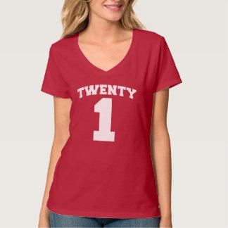 VEINTE 1 camiseta del cumpleaños del jalón