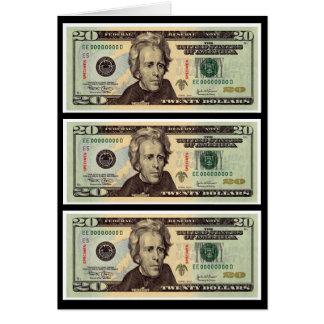 Veinte billetes de dólar felicitacion