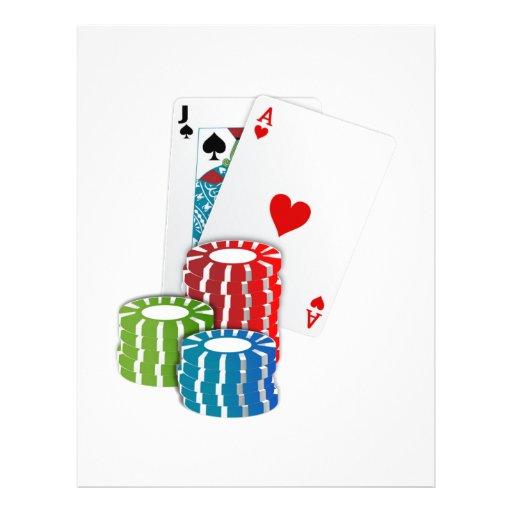 Veintiuna con las fichas de póker folleto 21,6 x 28 cm