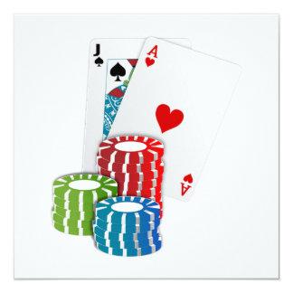 """Veintiuna con las fichas de póker invitación 5.25"""" x 5.25"""""""