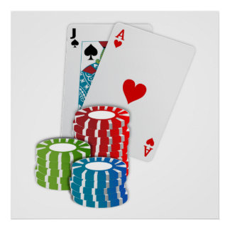 Veintiuna con las fichas de póker póster