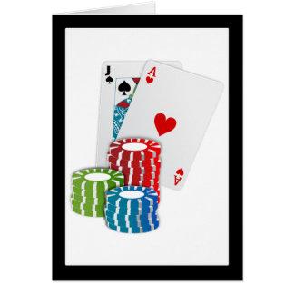 Veintiuna con las fichas de póker tarjeta de felicitación