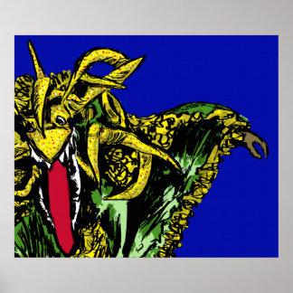 Vejigante Verde y Amarillo Poster