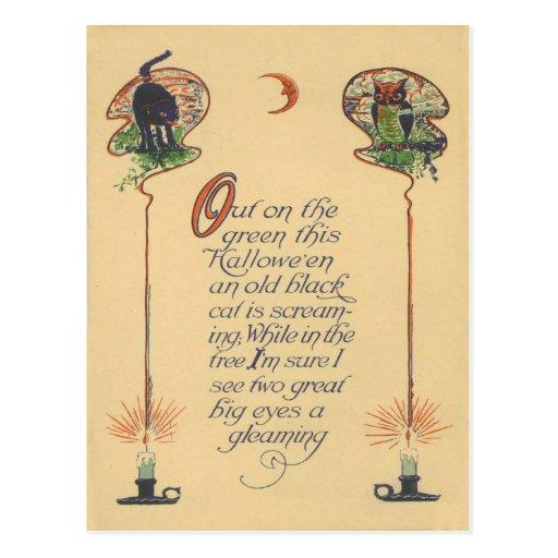 Vela creciente de la luna del búho lindo del gato  tarjetas postales