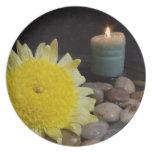 Vela de la armonía y flor amarilla platos para fiestas