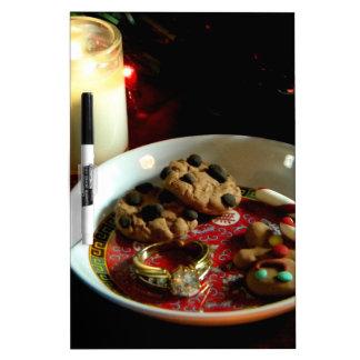Vela de la galleta del navidad tablero blanco