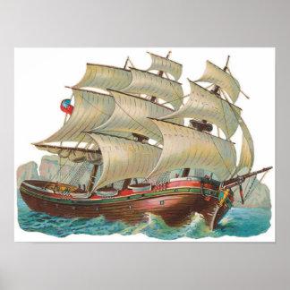 Vela de la nave del vintage a través del poster az