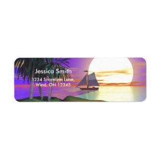 Vela de la puesta del sol etiqueta de remite