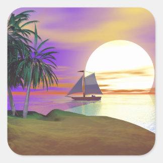Vela de la puesta del sol pegatina cuadrada