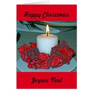 Vela de la tarjeta de Navidad