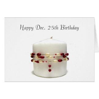 Vela del cumpleaños del navidad tarjeta de felicitación