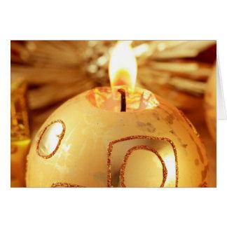 Vela del ornamento del árbol de navidad del oro tarjeta de felicitación