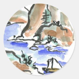 Vela del verano - pintura de la tinta de Sumi-e Pegatina Redonda