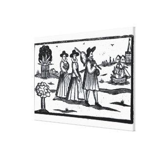 Vela fijada peregrinos en el Mayflower Impresiones En Lienzo Estiradas