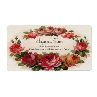 Vela floral del vintage de encargo o etiqueta de e etiquetas de envío