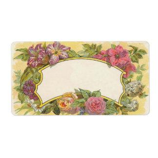 Vela floral del vintage o etiqueta de enlatado del etiqueta de envío