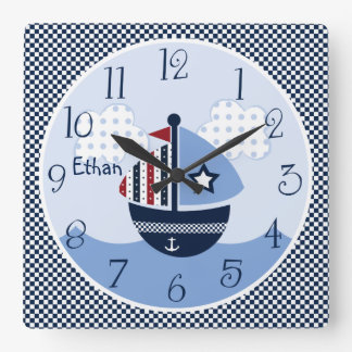 Vela lejos/reloj náutico/de los barcos del niño reloj cuadrado