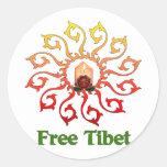 Vela libre de Tíbet Pegatinas Redondas