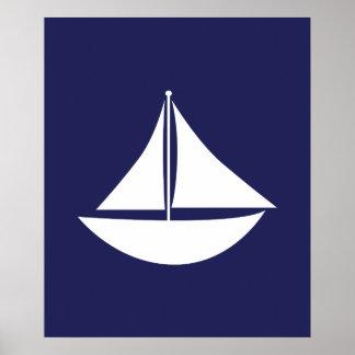 Vela náutica del azul marino y blanca póster