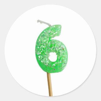 Vela número 6 del cumpleaños pegatina redonda