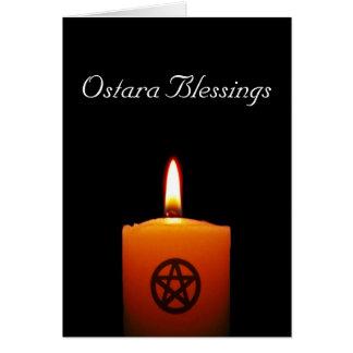 Vela pagana de las bendiciones de Ostara con la Tarjeta De Felicitación