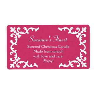 Vela personalizada o etiqueta de enlatado del rosa etiquetas de envío