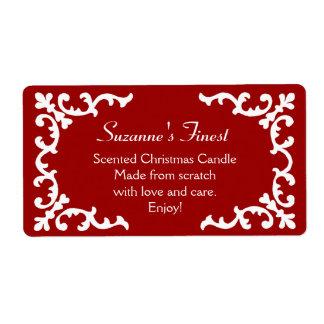 Vela personalizada o etiqueta roja de enlatado del etiquetas de envío