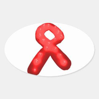 Vela roja de la cinta de la conciencia pegatina ovalada