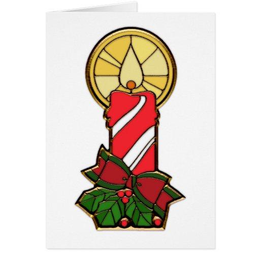 Vela roja y blanca del día de fiesta tarjetas