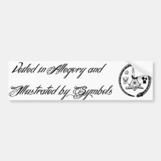 Velado en alegoría e ilustrado por símbolos pegatina de parachoque