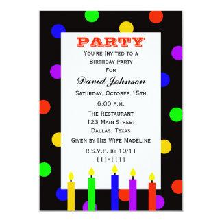 """Velas coloridas adultas de la fiesta de cumpleaños invitación 5"""" x 7"""""""
