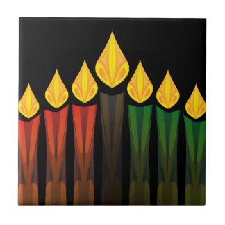 velas de Kwanzaa Azulejo Cuadrado Pequeño